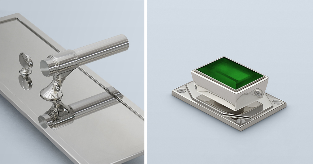 Lever design in polished nickel on an oversized backplate paired with a custom emerald rock crystal cabinet pull