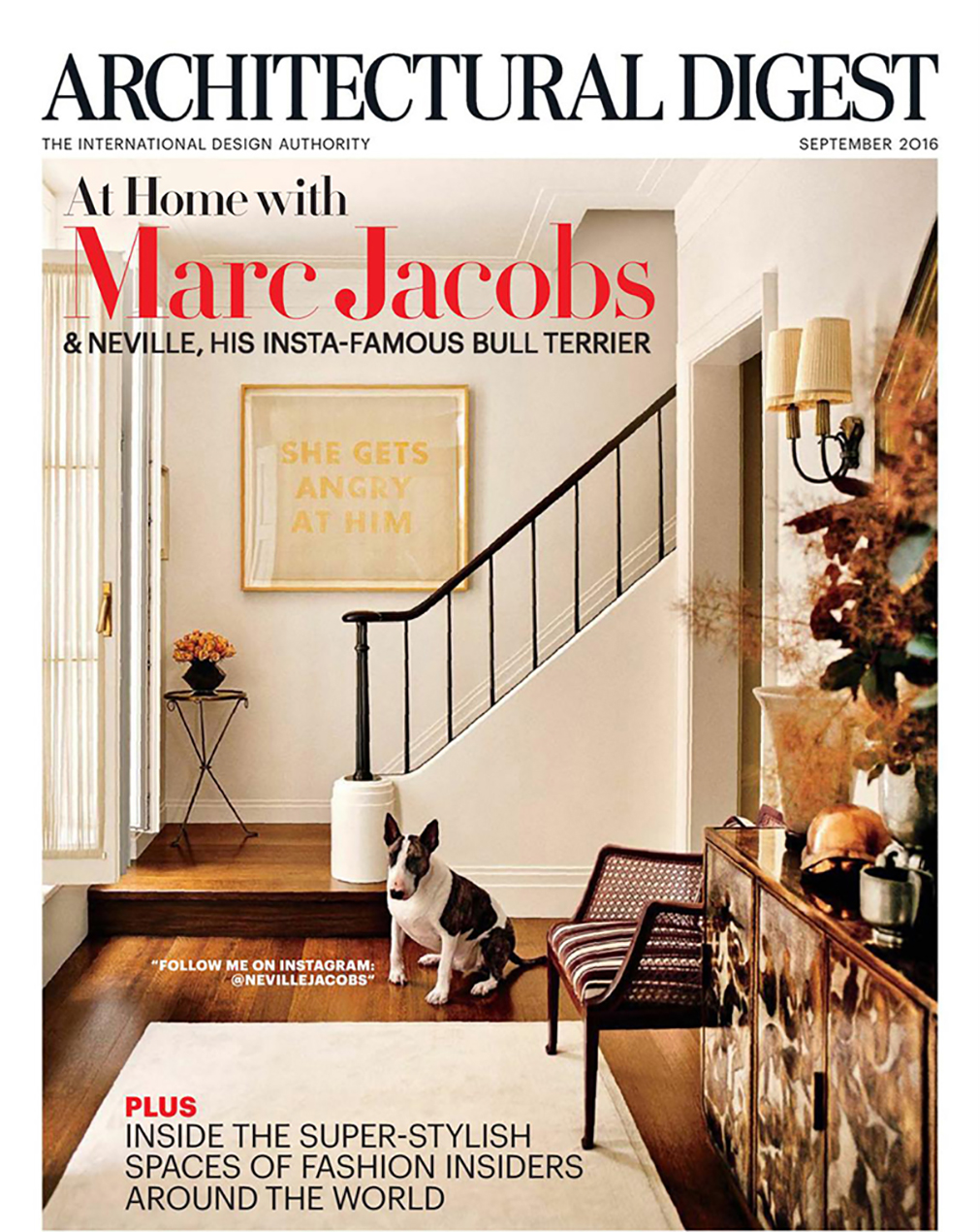 Architectural Digest cover story featuring Marc Jacobs New York City townhouse with H. Theophile hardware.