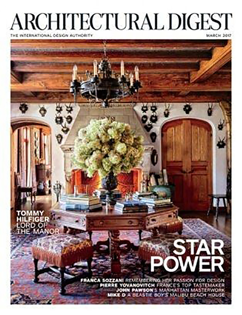 Architectural Digest cover story of Tommy Hilfiger's home with hardware by H. Theophile